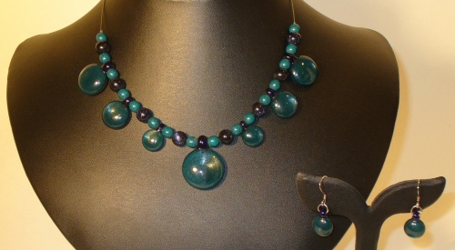 Glass and Sterling Silver Necklace and Earring Duo