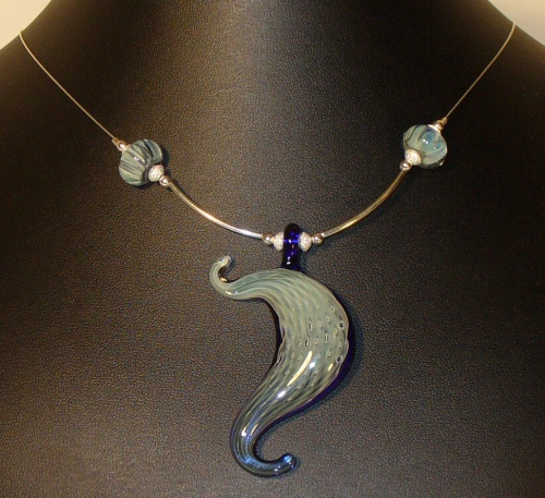 Glass and Sterling Silver Necklace