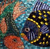 Mosaic made of Mexican Smalti, millefiori, glass cabachons