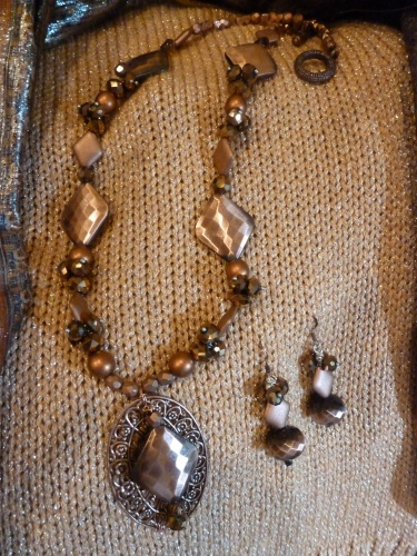 Copper Bead Necklace and Pendant