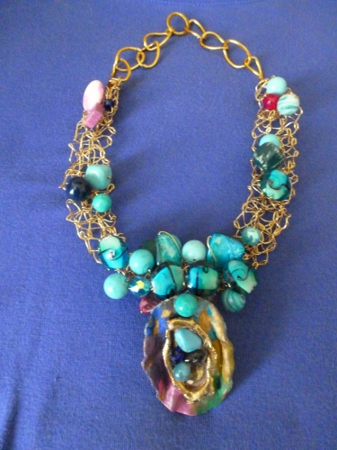 Hand Crocheted on Gold Wire with Gemstones