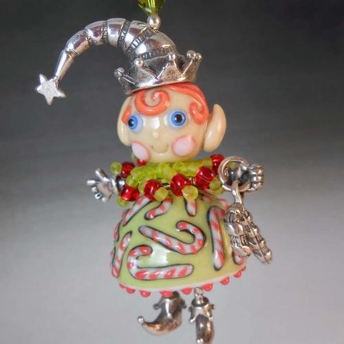 Candy Cane Elf Pendant Christmas Elf Pendant Artist Made