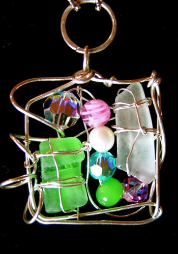 sea glass, pearl, swarovski crystal, sterling wire, one-of-a-kind, art jewelry, art-t