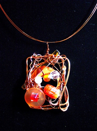 copper, pearl, stained glass, button, one-of-a-kind, art jewelry, art-to-wear, vintag