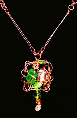 copper, lime seaglass, coconut jelly bean bead, wire wrap, mosaic, art jewelry