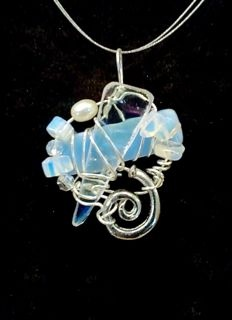 pearl, moonstone, stained glass, wire wrapped art jewelry, art to wear necklace