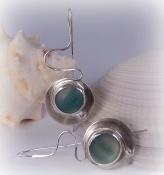 Authentic Sea Glass Earrings in Bezel Set