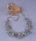 Seafoam Sea Glass, Swarovski and Sterling Silver Necklace